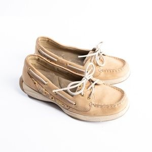 Sperry Gold Cheetah print boat shoes size 6.5